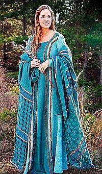 Edle Mittelalter-Kleidung mit Überwurf, türkis