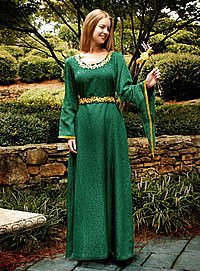 Edles Mittelalterkleid 13. Jhdt, grün