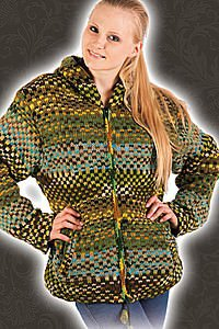 Gef�tterte Ethnic Strickjacke Wolle