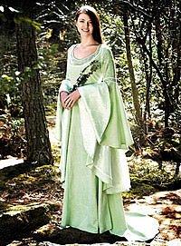 Hochmittelalter Elben-Kleid mit Schleppe