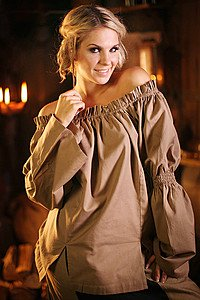 Mittelalter Bluse Brown Feather