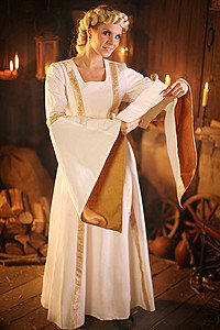 Mittelalter Brautkleid Baumwolle-Leinen