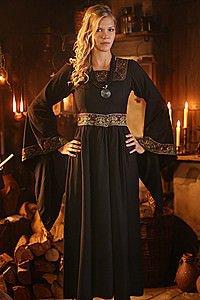 Edles Mittelalter Kleid mit Bordüre