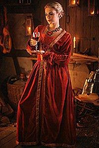 Mittelalter Samt-Kleid Queen Katharina