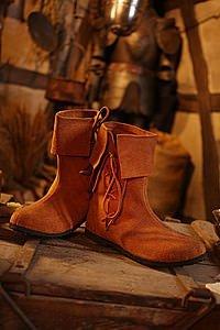 Mittelalter-Schuhe Stulpenstiefel aus Wildleder