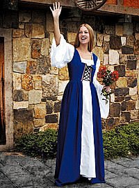 Mittelalter Überkleid mit Schnürmieder, blau