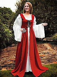 Mittelalter Überkleid mit Schnürmieder, rot