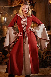 medieval dress Mayah red-natural