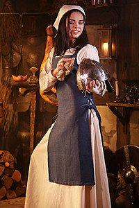 Mittelalterliches Schürzenkleid Gyda, blau