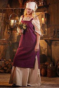 Mittelalterliches Träger-Überkleid Frida, fliederfarben