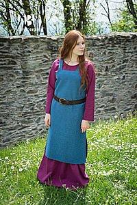 Mittelalterliches Träger-Überkleid Frida, meerblau