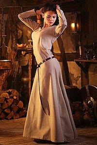 Mittelalterliches Unterkleid Freya, hanffarben