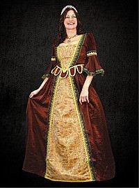 Renaissance Kleid mit Zatteln, rot-golden