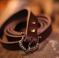 Schmaler Angelsächsischer Damengürtel Leder, Länge ca. 165 cm