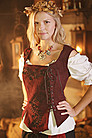 Mittelalter Leder-Mieder mit Stickereien, bordeaux