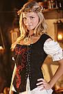 Mittelalter Leder-Mieder mit Stickereien, schwarz